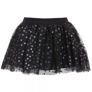 Stella McCartney Kids Black Tulle 'Honey' Skirt with Silver Stars