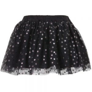 Stella McCartney Kids Black Tulle 'Honey' Skirt with Silver Stars1