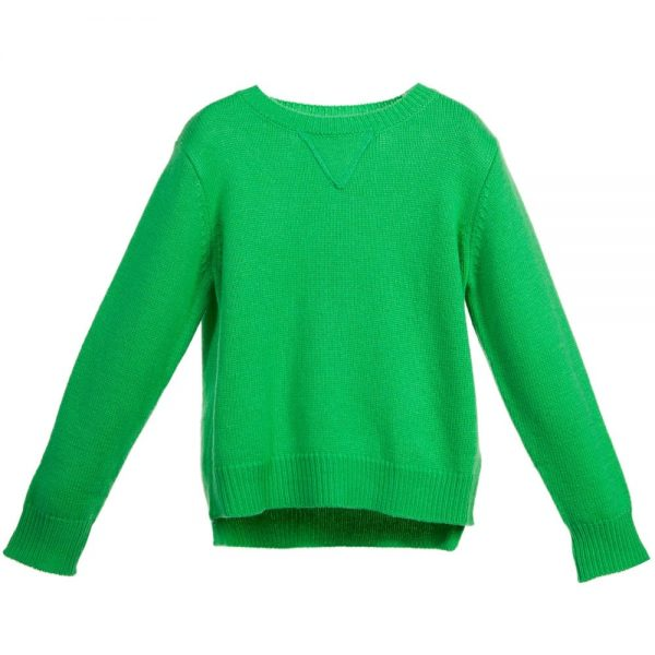 Stella McCartney Kids Boys Green Wool & Cashmere 'Woody' Jumper