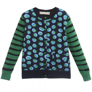 Stella McCartney Kids Girls Blue Cotton & Cashmere 'Georgia' Cardigan