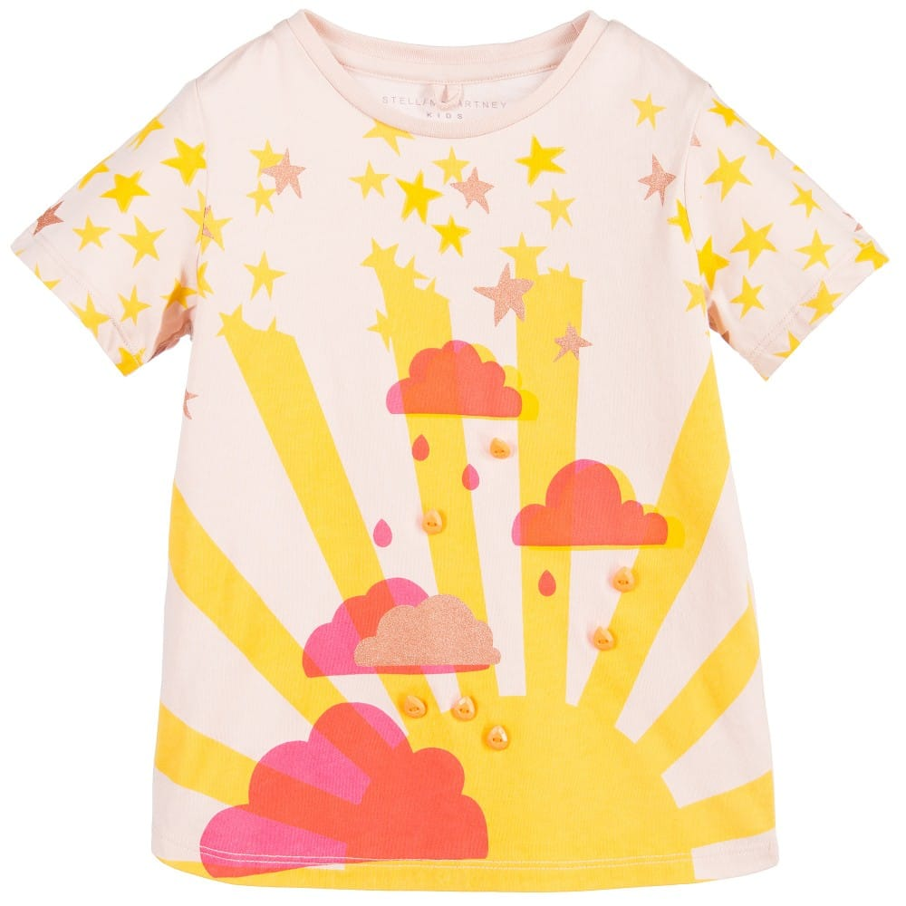 Stella McCartney Kids Girls Pink Sunshine & Clouds 'Arlo' T-Shirt