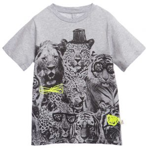 Stella Mccartney kids Boys Grey Big Cats Print 'Arlo' T-Shirt