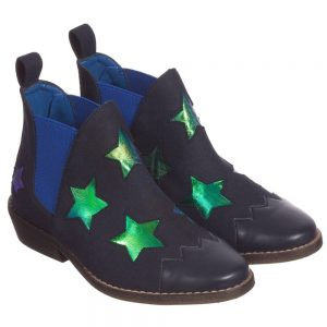 Stella Mccartney kids Girls Navy Blue Shimmer Star 'Lily' Boots