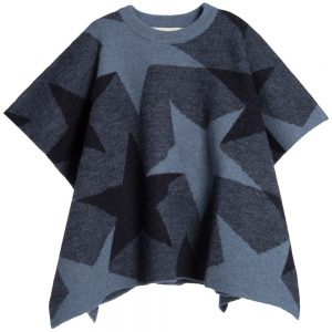 Stella Mccartney kids Girls Navy Blue Star Print Wool 'Agnes' Cape