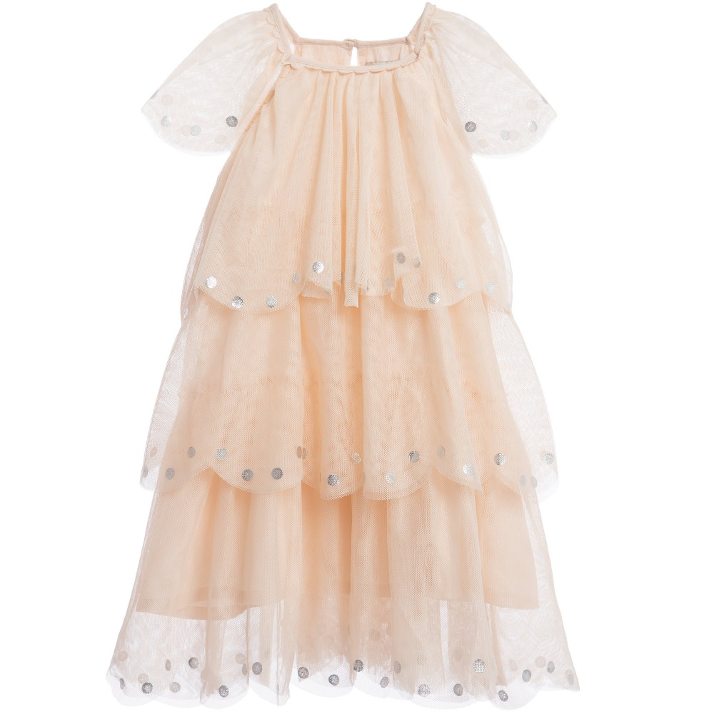 Stella Mccartney kids Ivory Tulle & Silver Spot Tiered 'Violet' Dress