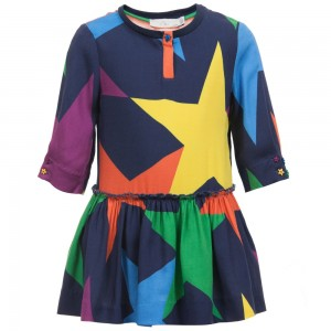 Stella Mccartney kids Navy Blue Star Print Viscose 'Kiwi' Dress