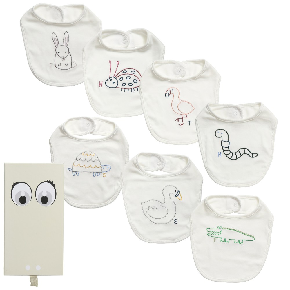 Stella Mccartney kids White 'Teddie' Organic Cotton Bib Gift Set
