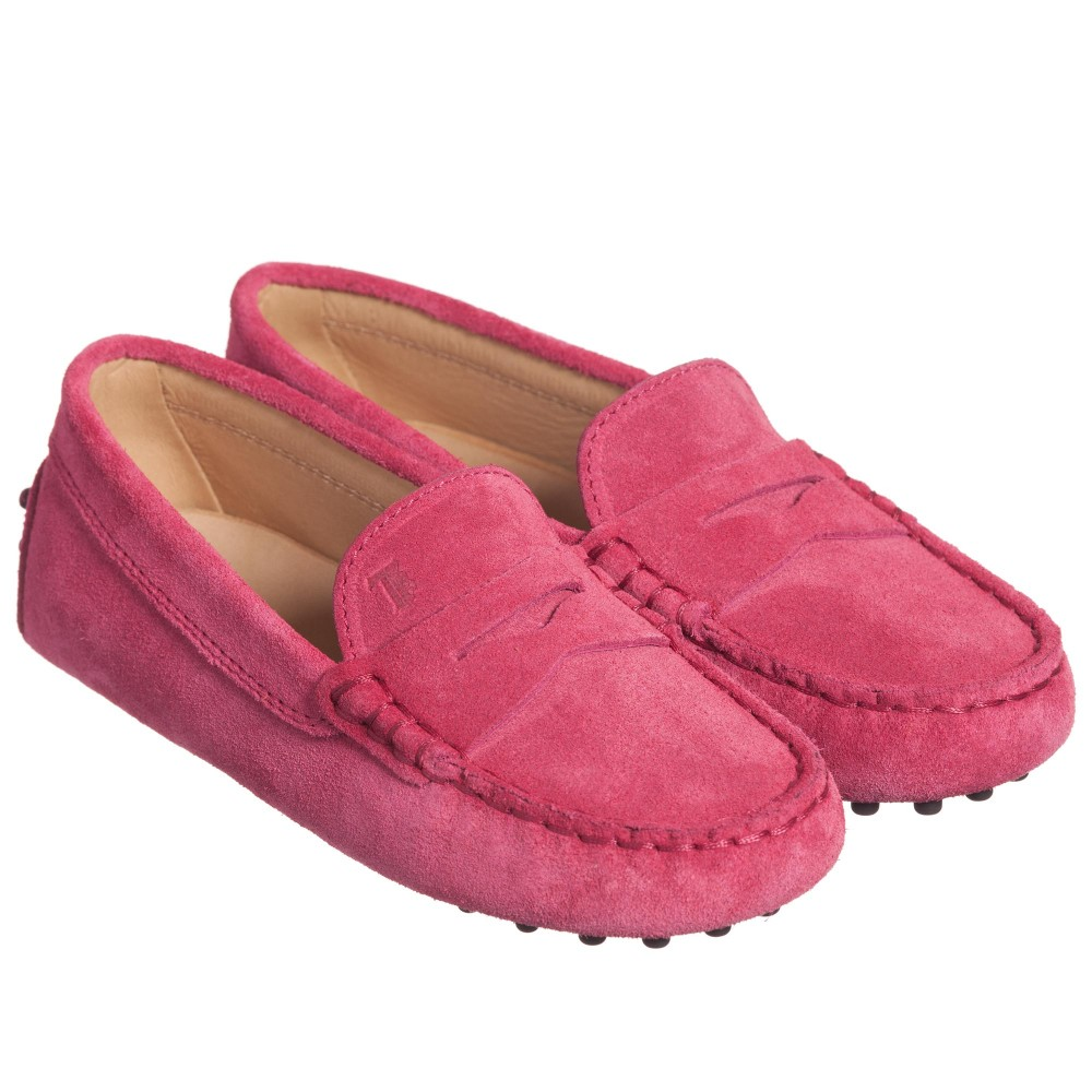 tods-girls-dark-pink-suede-gommino-moccasins-1