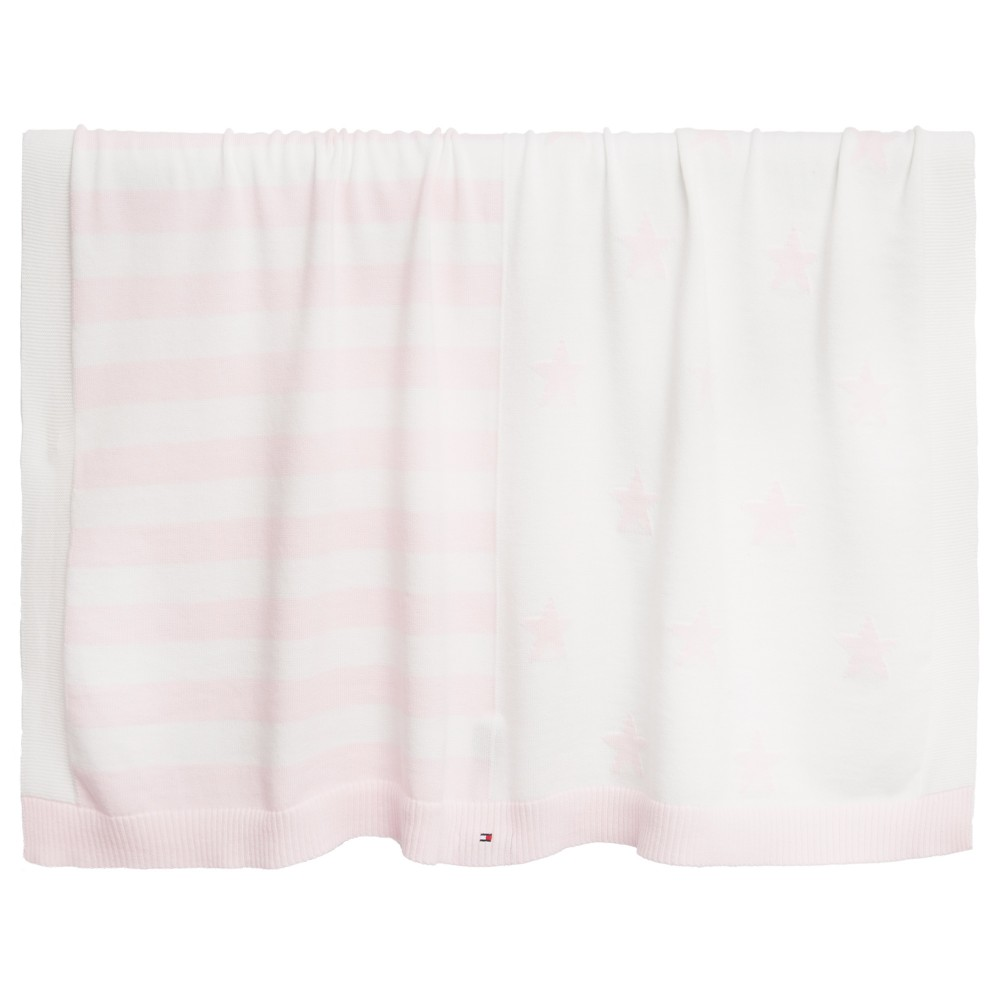 tommy-hilfiger-baby-girls-pink-white-cotton-knit-blanket-80cm-1