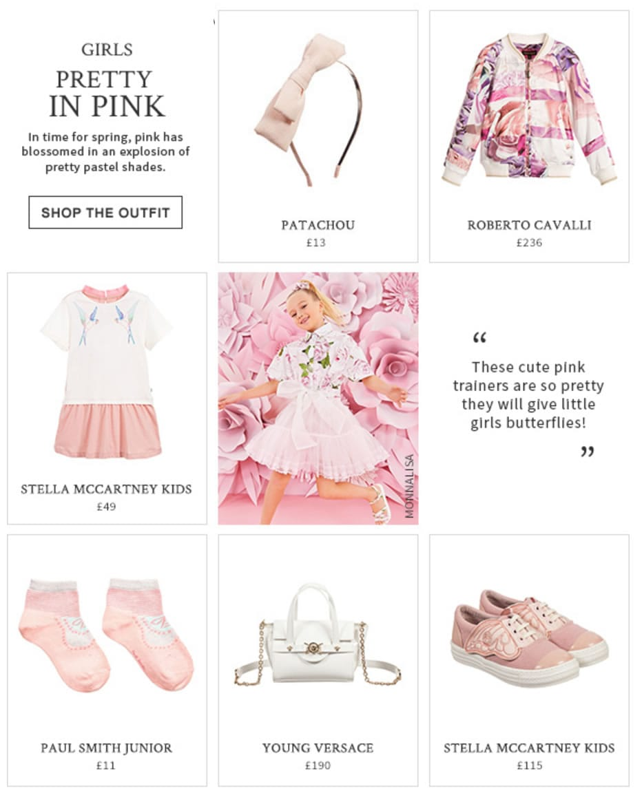 Girls pretty in pink designers look